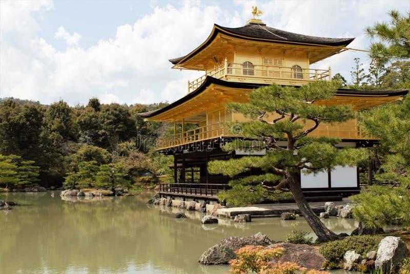 Pavilhão dourado Kinkaku do templo budista japonês Kinkaku-ji, Rokuon-ji, Kyoto, Japão imagem de stock
