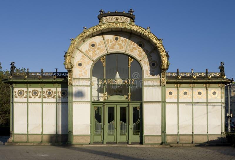 Pavilhão Karlsplatz de Otto Wagner, Viena fotos de stock