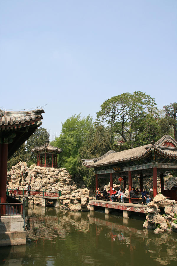 Pavilhão - parque de Beihai - Pequim - China imagens de stock