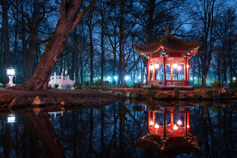 Pavilhões do chinês tradicional no parque de Lazienki fotos de stock