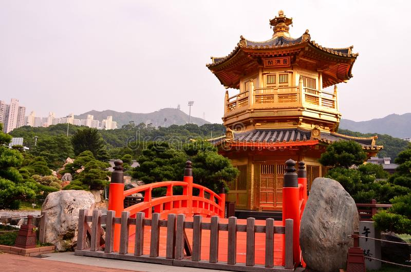 Pavilion of Absolute Perfection. In Nan Lian Garden, Diamond Hill, Hong Kong stock photography