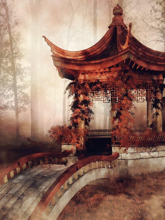 Pavilion with autumnal vines vector illustration