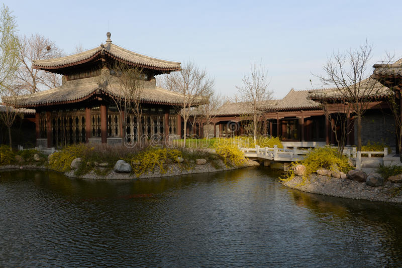 Pavilion in chinese park in spring stock photography