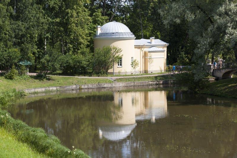 Pavilion - cold bath. Pavlovsk. Saint Petersburg. In 1799, on the banks of the Slavyanka, near the palace, architect Charles Cameron built a small pavilion royalty free stock photo