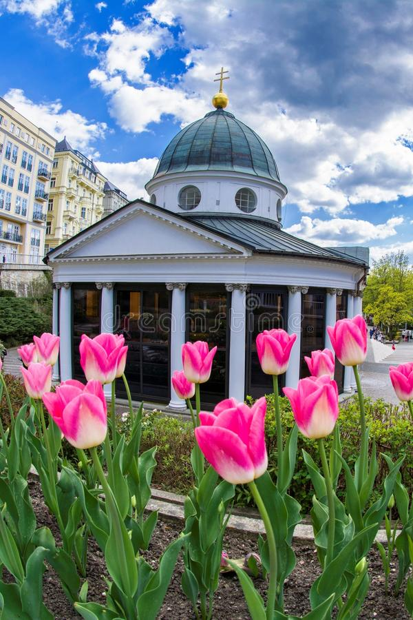 Pavilion of cold mineral water - Cross spring in the small west Bohemian spa town Marianske Lazne Marienbad - Czech Republic. Pavilion of cold mineral water royalty free stock image