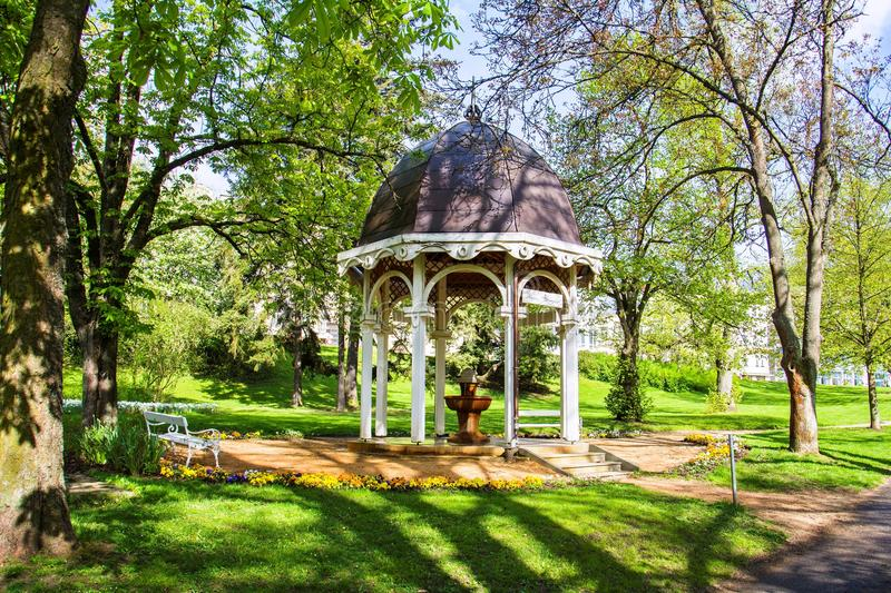Pavilion of cold mineral water spring in the small west Bohemian spa town Marianske Lazne Marienbad - Czech Republic. Pavilion of cold mineral water spring in royalty free stock images
