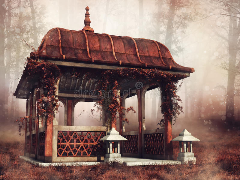 Pavilion in a colorful forest vector illustration
