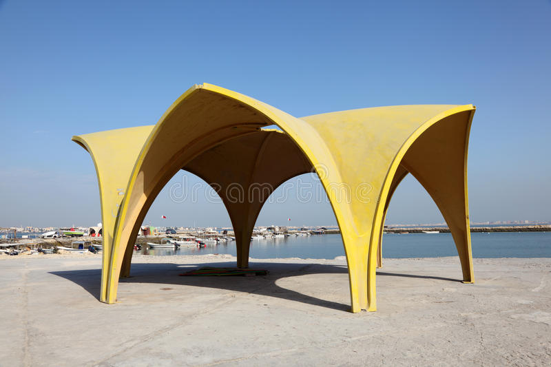 Pavilion at the corniche of Manama, Bahrain. Middle East royalty free stock photography
