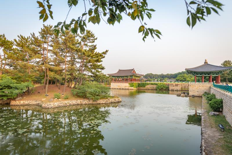 Pavilion of the Donggung Palace and the Wolji Pond. GYEONGJU, SOUTH KOREA - JUNE 5, 2019: Pavilion of the Donggung Palace and the Wolji Pond, shot at the end of royalty free stock photography