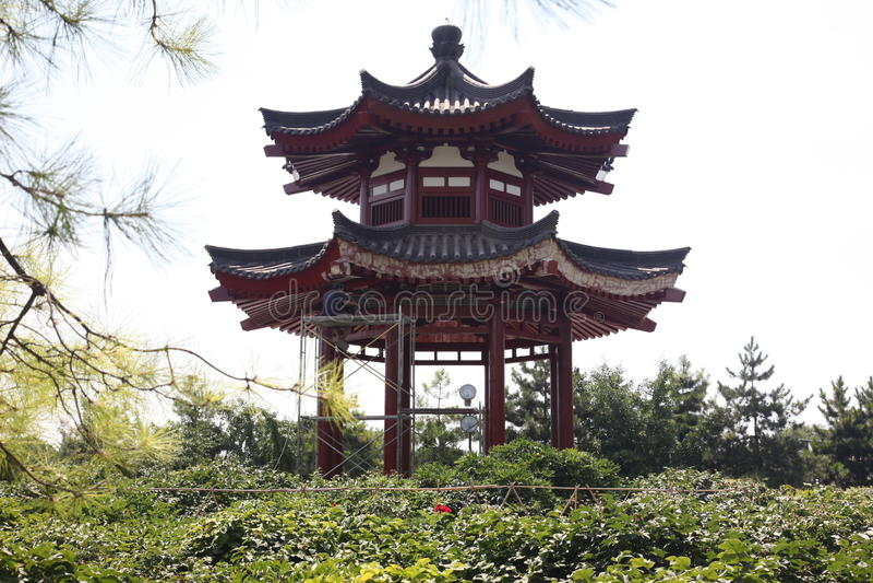 Pavilion at Giant Wild Goose Pagoda royalty free stock photos