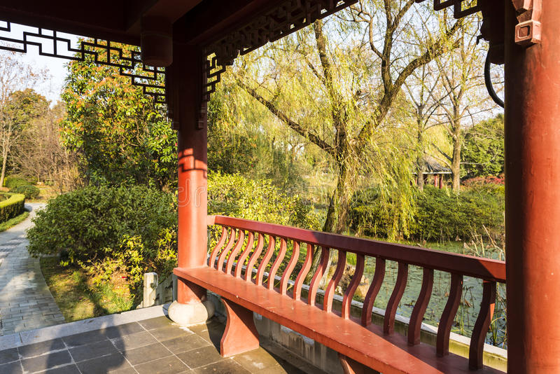 Pavilion and green willow royalty free stock photography