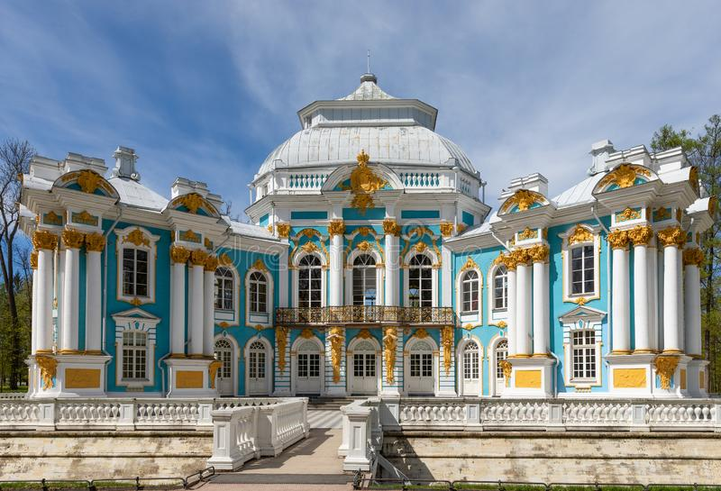 Pavilion Hermitage in the regular garden in front of Catherine Palace in the town of Pushkin. Russia stock image