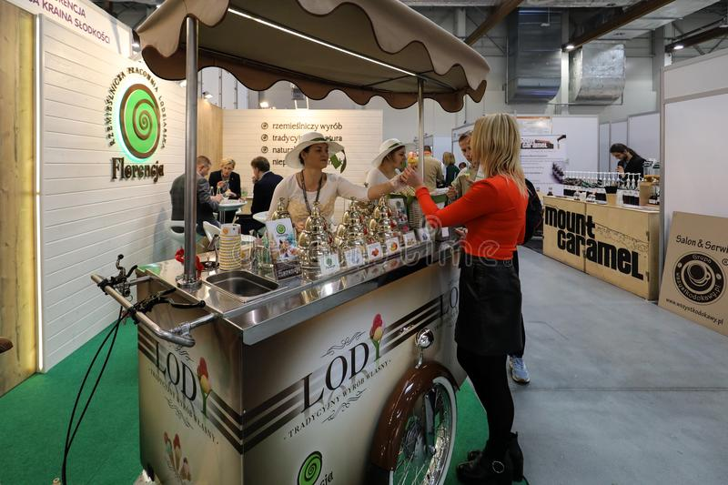 Pavilion of the ice cream producer at Gastrofood - Trade Fair for Food and Drinks for Catering in Cracow. Poland stock image