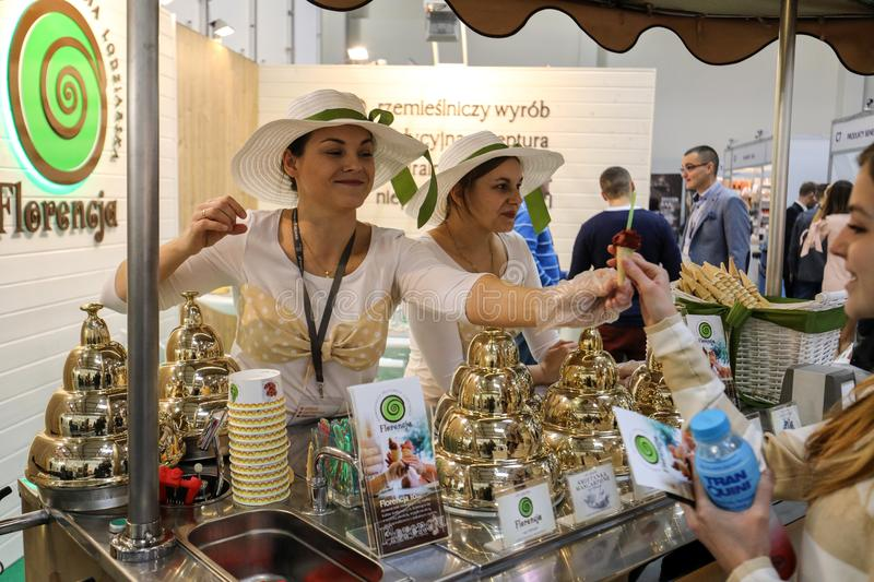 Pavilion of the ice cream producer at Gastrofood - Trade Fair for Food and Drinks for Catering in Cracow. Poland stock images