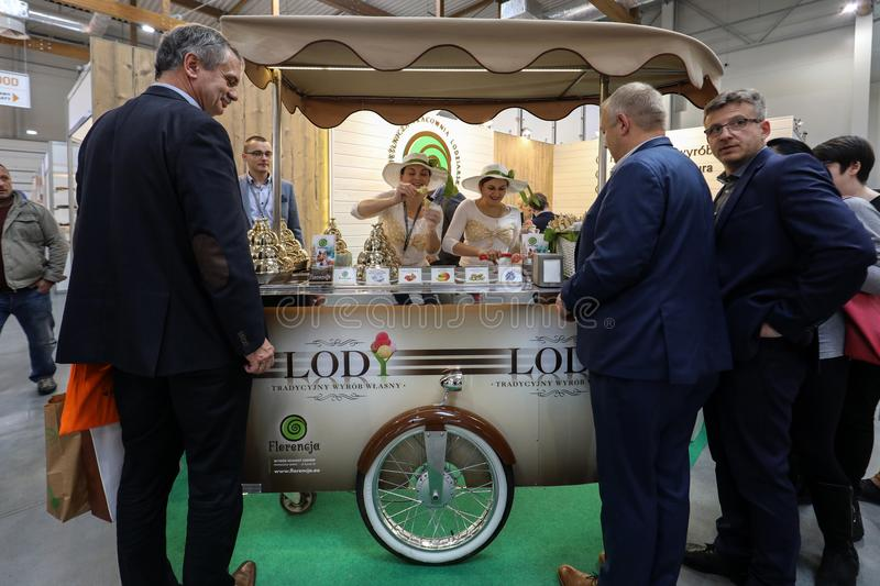 Pavilion of the ice cream producer at Gastrofood - Trade Fair for Food and Drinks for Catering in Cracow. Poland royalty free stock photos