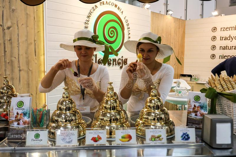 Pavilion of the ice cream producer at Gastrofood - Trade Fair for Food and Drinks for Catering in Cracow. Poland stock photo