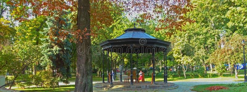 Pavilion in Kiev Shevchenko Park on an autumn day. Pavilion in Kiev Shevchenko Park on an autumn sunny day royalty free stock photography