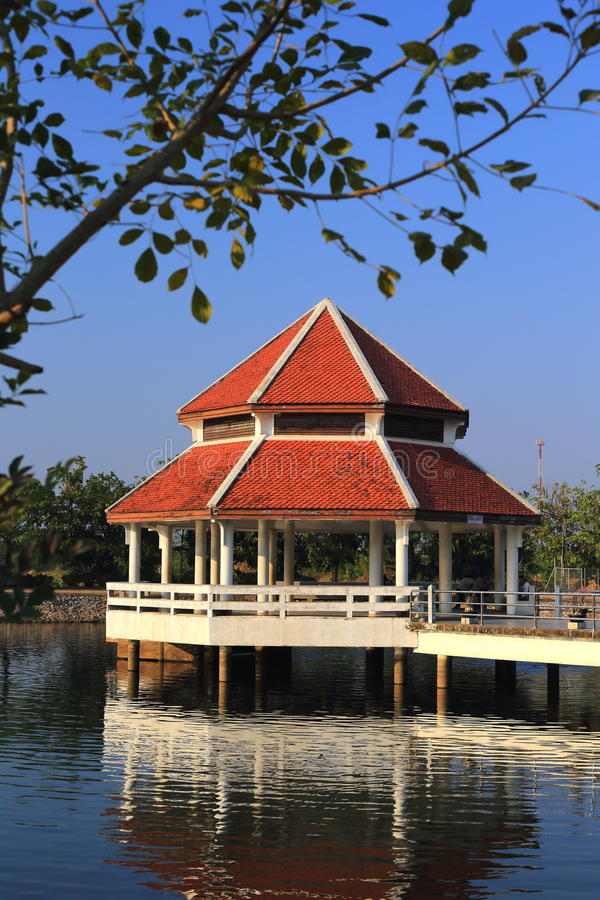 A pavilion in little pond 2 royalty free stock photo