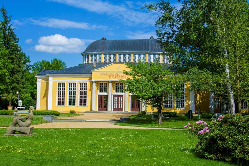 Pavilion with mineral water springs - west Bohemian spa town Frantiskovy Lazne Franzensbad - Czech Republic. Pavilion with mineral water springs - small west royalty free stock images