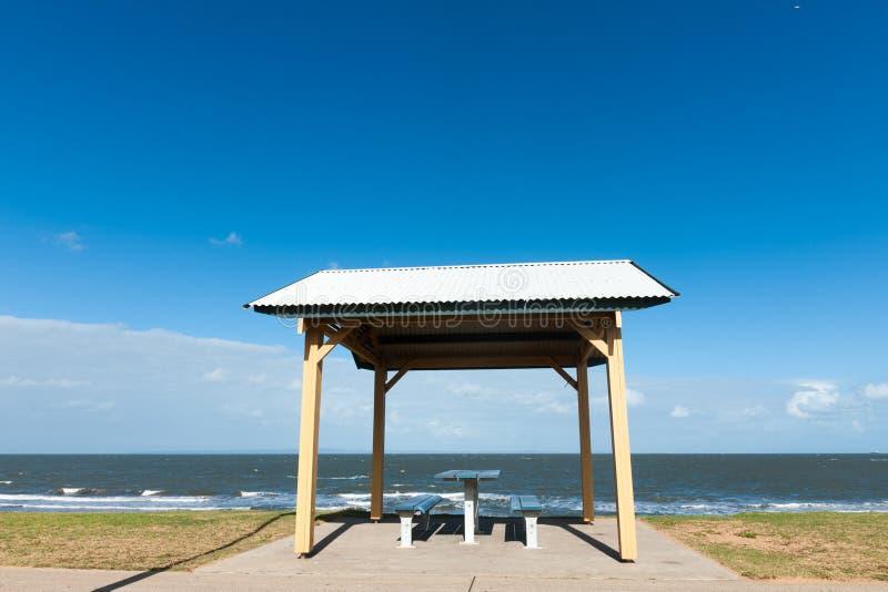 Pavilion near the beach stock image