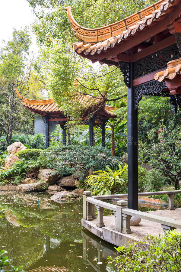 The pavilion in Orchid Garden 2 stock photo