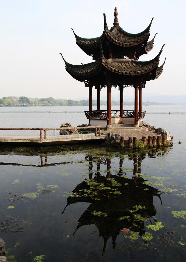 Pavilion and reflection stock images