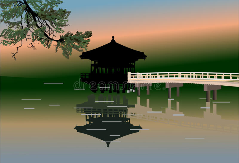 Download Pavilion And Reflection In Pond Illustration Stock Vector - Illustration of lake, chinese: 21954821