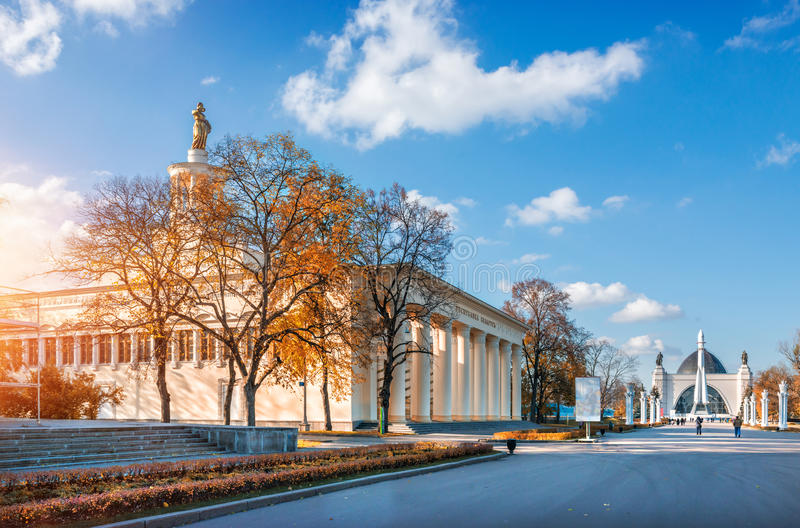 Pavilion of the Republic of Belarus. On the territory of VDNH in Moscow on a clear sunny autumn day stock images
