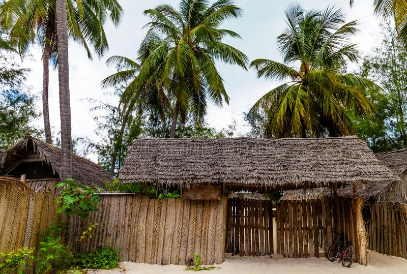 Pavilion with thatched roof and green palm trees around royalty free stock photos