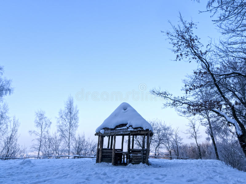 Pavilion under snow. Christmas season with snow all over the place royalty free stock photography