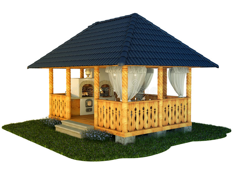 Pavilion view. Illustration gazebo on a white background vector illustration