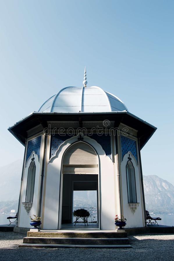 Free Pavilion, Villa Melzi, Lake Como. Stone Ancient Arbor Royalty Free Stock Image - 109471516