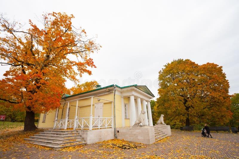 Pavilionbyggnad och gula träd 02 10 2019 arkivbild