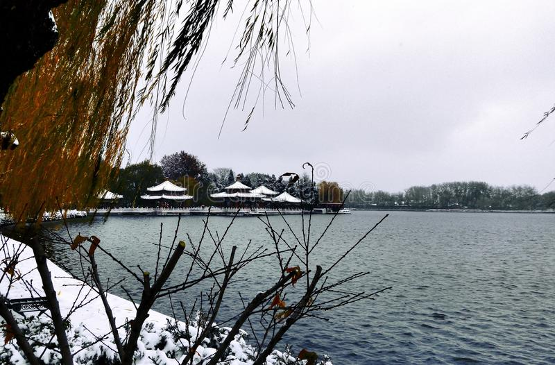 Pavilions at a lake royalty free stock image