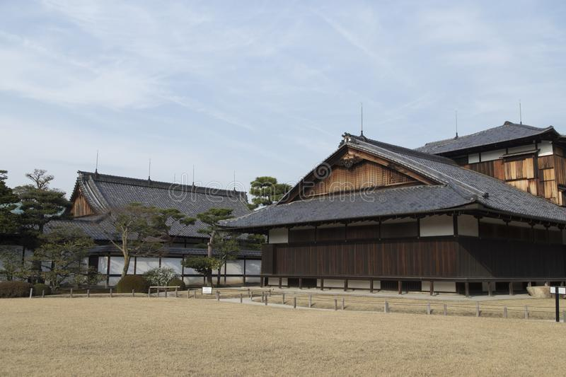 Pavilions and roofs at Nijo Castle in Kyoto in Japan Unesco stock photos