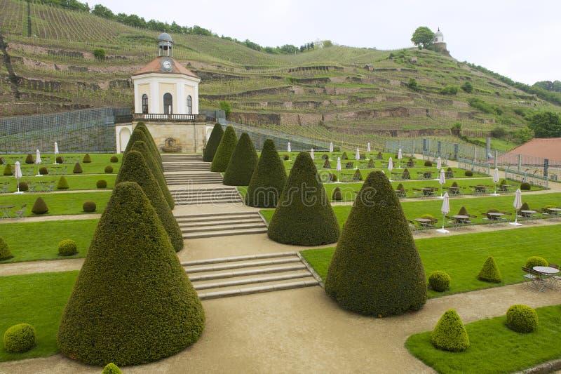 Paviljoen van het Wackerbarth-kasteel in de recente lente, Radebeul, Duitsland stock afbeelding
