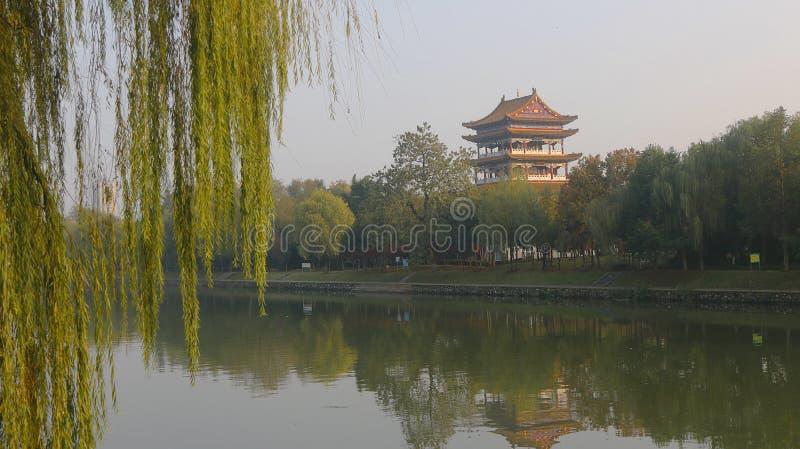 Paviljoenen op riverbank stock afbeelding