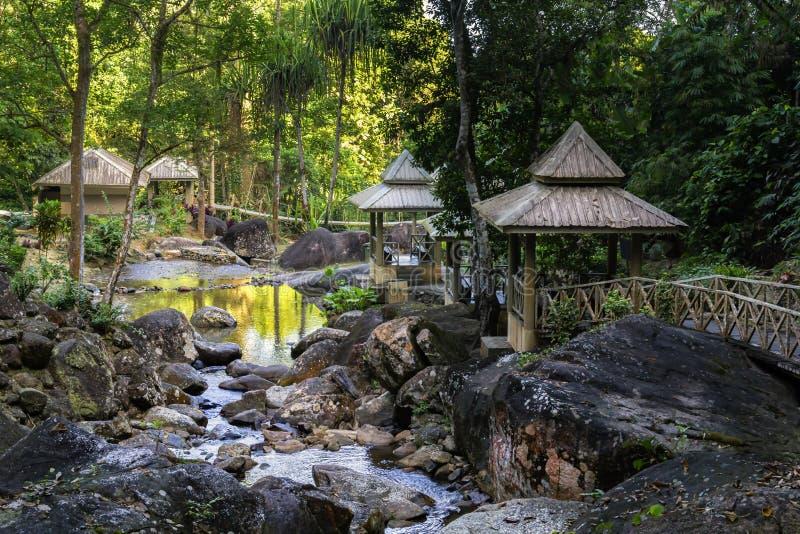 Paviljonger för att koppla av med broar på bankerna av en bergström med stenar i rainforesten fotografering för bildbyråer
