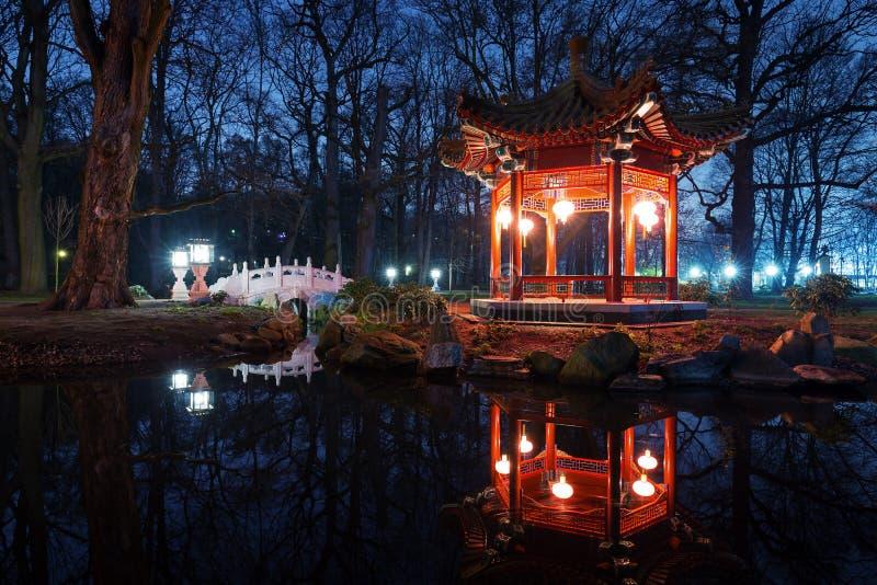 Paviljonger för traditionell kines i Lazienki parkerar royaltyfria foton