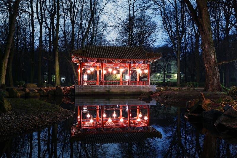 Paviljonger för traditionell kines i Lazienki parkerar arkivbilder