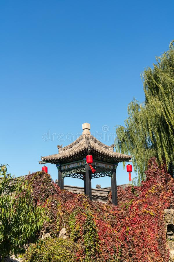 Paviljonger i forntida Kina royaltyfri bild