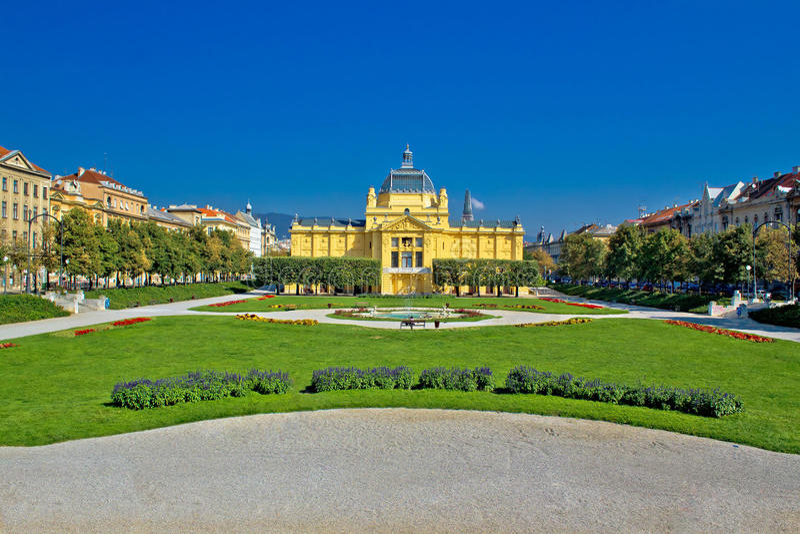 Pavillion in green park of Zagreb royalty free stock photos