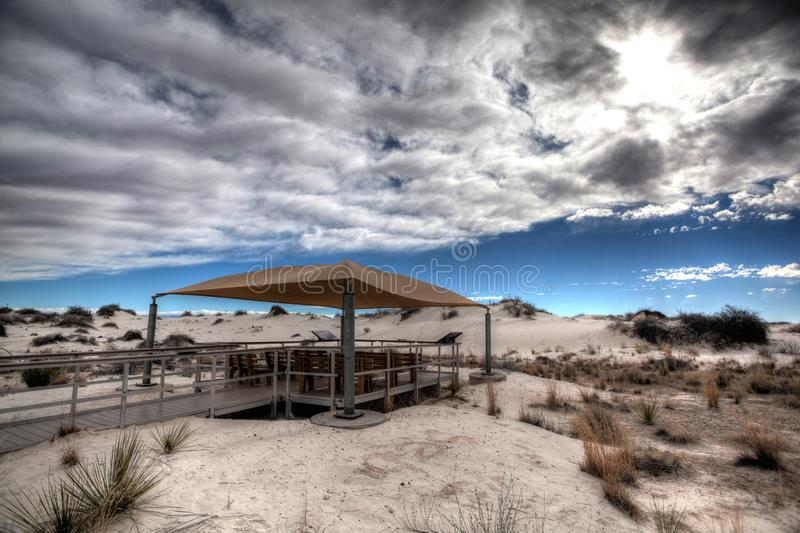 Picnic pavillion at White Sands National Monument New Mexico stock photography