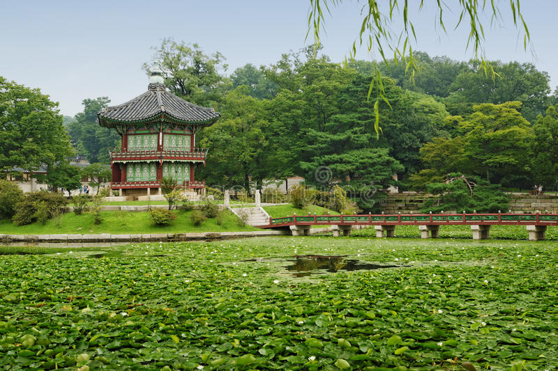 Pavilion on a Pond (Seoul, Korea) royalty free stock images