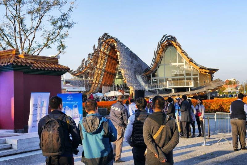 Pavillion van China in Expo 2015 Milaan stock afbeeldingen