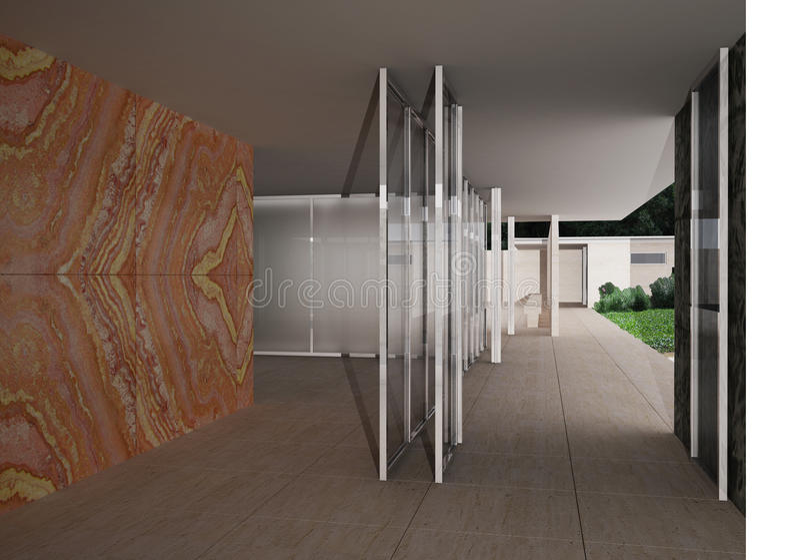 Pavillon allemand, Barcelone, Mies van der Rohe illustration stock