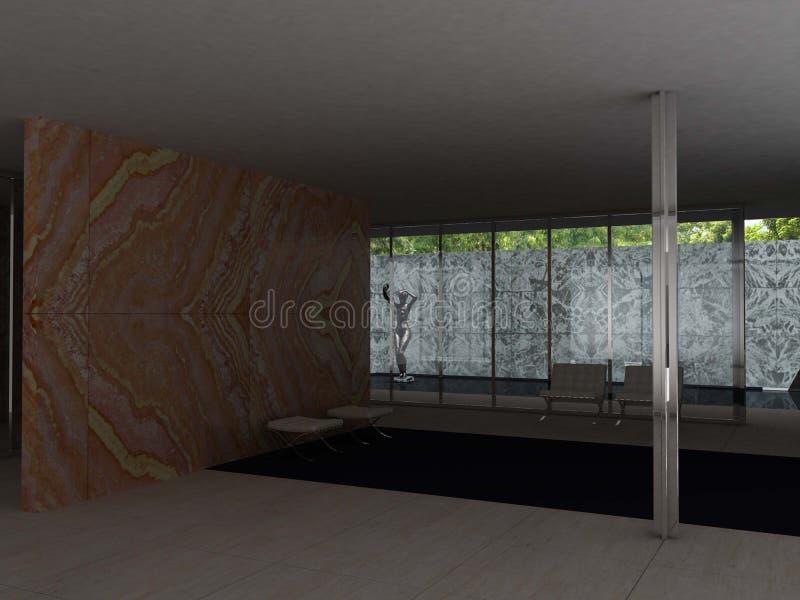 Pavillon allemand, Barcelone, Mies van der Rohe illustration de vecteur