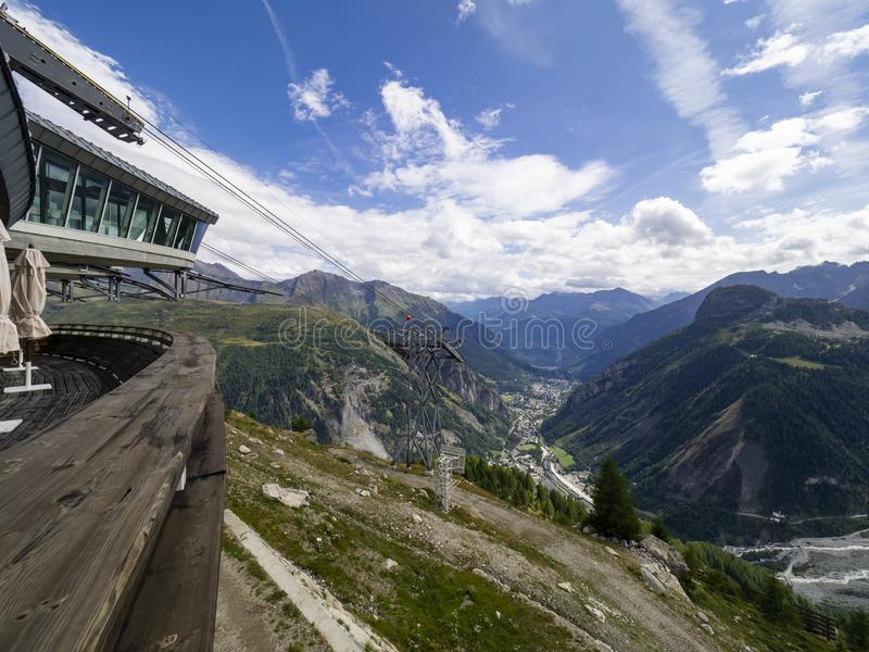 Pavillon in Courmayeur area. Pavillon intermediate station of the cableway called Skyway in Courmayeur royalty free stock photos