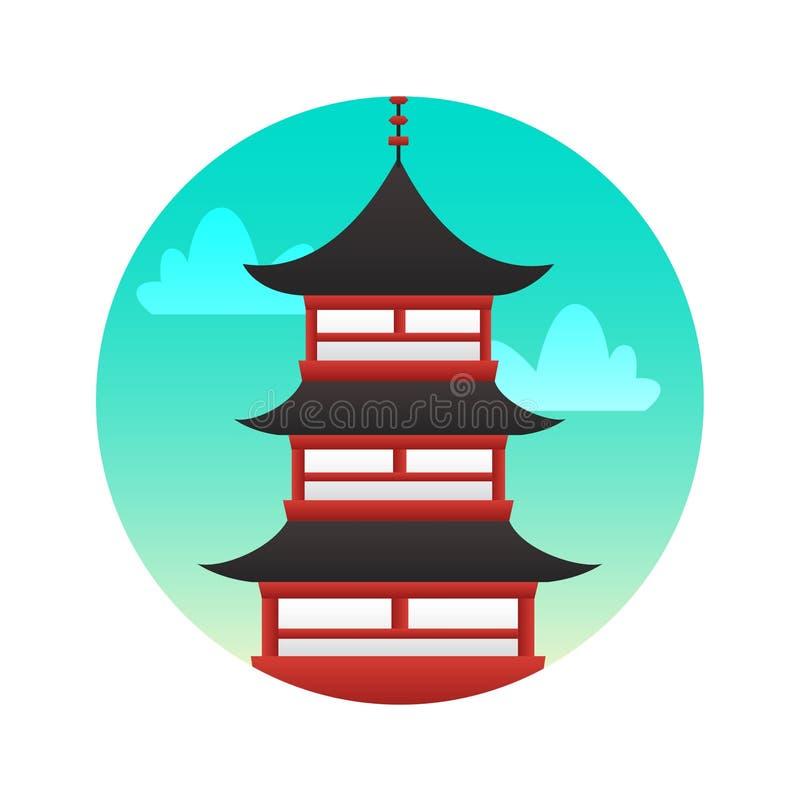 Pavillon d'icône plate de couleur de prince Teng Vues historiques du Japon illustration libre de droits