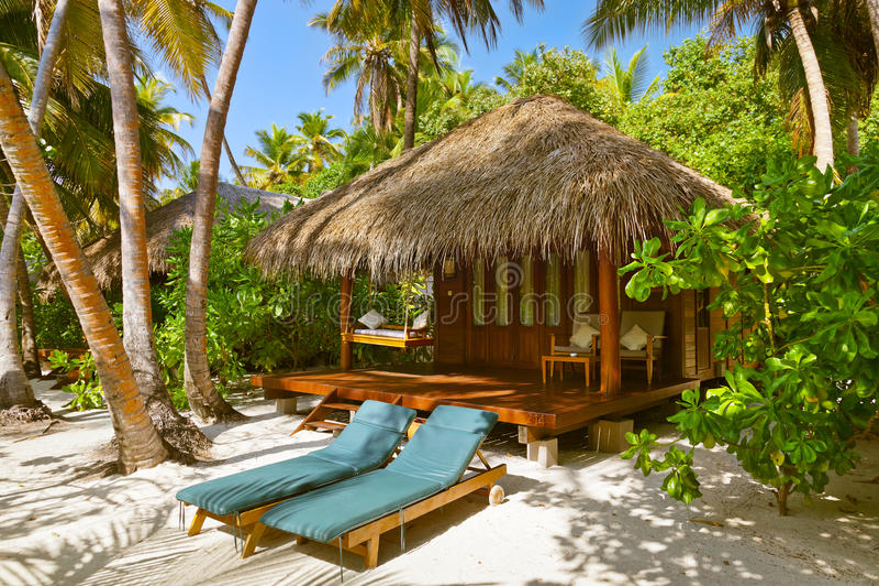 Pavillon de plage - Maldives image libre de droits
